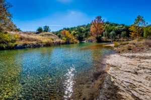 Fall Foliage on a Crystal Clear Creek in the Hill Country of Tex