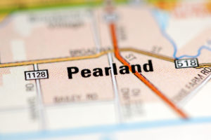 Pearland on a geographical map of USA